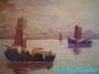 Arnold Graboné / Grabone * Ölgemälde Leinwand * Schiffe