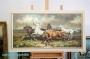 H. Faust Ölgemälde Leinwand 100 x 50 cm * Wildpferde im Gewitter